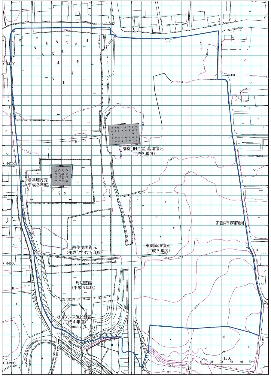上野国分寺の概要 上野国分寺の寺域は東西220m、南北235m程と想定され、東西軸の中央に伽藍中軸線を設定し、南から南大門、中門、金堂、講堂が、建物の中心を